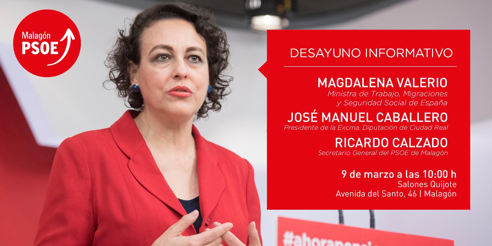 La ministra Magdalena Valerio participará el sábado en una charla con los vecinos de Malagón sobre empleo, empresarios y autónomos
