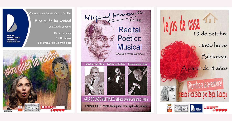 Magda Labarga, Luis del Olmo, Luis Santana, Antonio López y Nathalie Gaubert, para celebrar el Día de la Biblioteca en Villarrubia de los Ojos