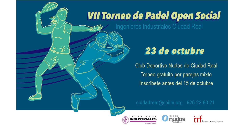 Hasta el 15 de octubre  hay de plazo para apuntarse al VII Torneo de  Padel-Open social del Colegio Oficial de Ingenieros Industriales