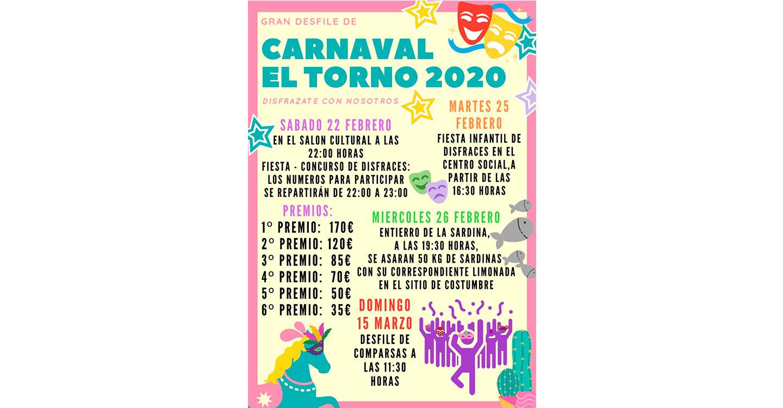 El Torno dará la bienvenida al Carnaval 2020 este sábado con la tradicional fiesta de disfraces