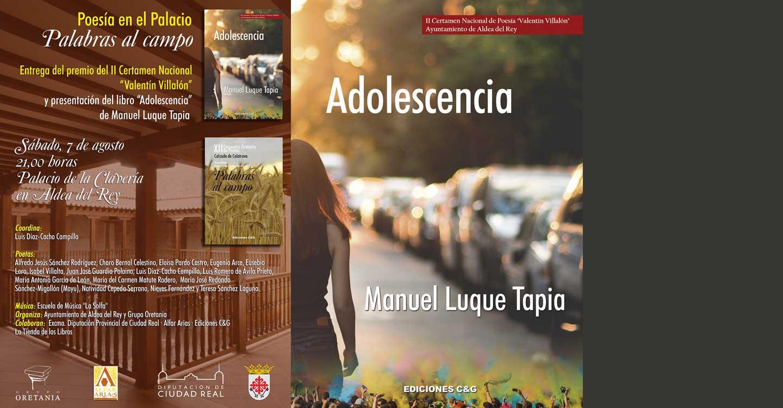 """El menciano Manuel Luque Tapia, gana el 'II Certamen Nacional de Poesía 'Valentín Villalón' de Aldea del Rey' con su obra """"Adolescencia"""""""