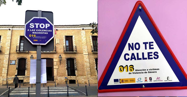 El Ayuntamiento de Villarrubia de los Ojos y el Centro de la Mujer instalan señales viales de sensibilización contra la violencia de género