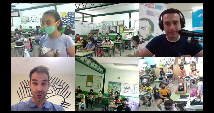 El Colegio Cervantes de Santa Cruz de Mudela y José Manuel Calderón juntos en la carrera Gotas de UNICEF