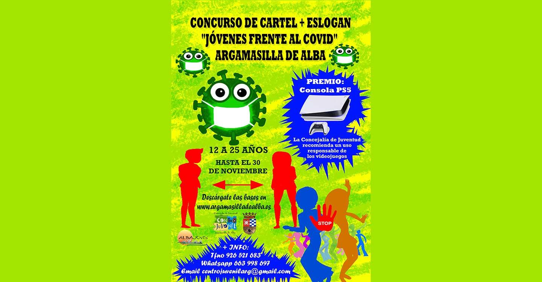 """Concurso de cartel y eslogan """"Jóvenes de Argamasilla de Alba frente a la COVID-19""""."""