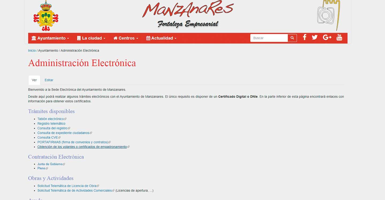 Ya se puede conseguir el certificado de empadronamiento de manera electrónica en Manzanares