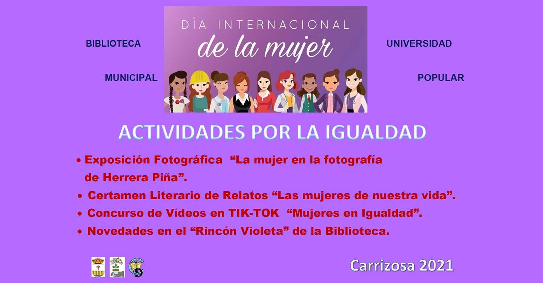 Exposición de Fotos, Concurso de Tiktok, Certamen Literario y Rincón Violeta, en las Jornadas por la Igualdad de Carrizosa