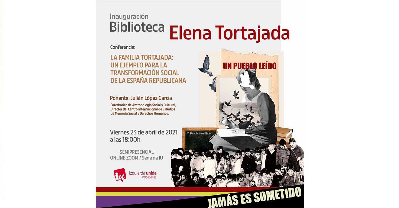 """La Inauguración de la Biblioteca Popular """"Elena Tortajada"""" se realizará exclusivamente de forma online."""