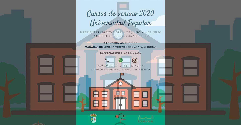 La Universidad Popular de Calzada de Calatrava programa cursos de verano adaptados a la situación del covid-19