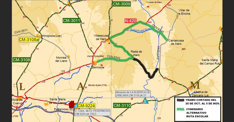 El Gobierno de Castilla-La Mancha inicia este lunes los trabajos de mejora de la CM-3009 en La Alberca de Záncara y Villaescusa de Haro