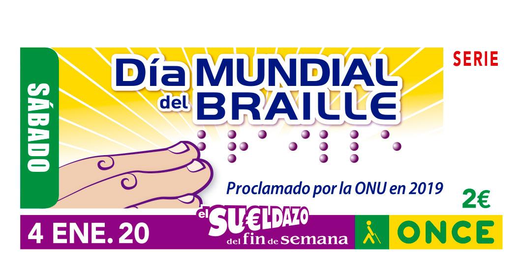 El Día Mundial del Braille, en el cupón de la ONCE para celebrar que con seis puntos la vida de las personas ciegas es más accesible