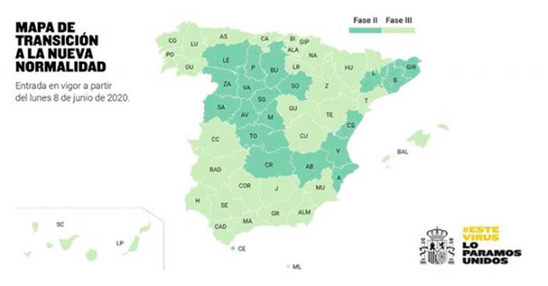 El 52% de la población española podrá retomar las actividades recogidas en la fase 3 a partir del próximo lunes