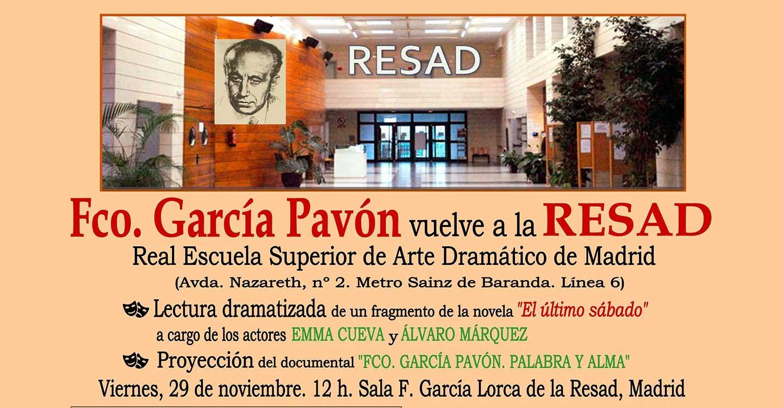 Pavón será protagonista el viernes 29 en la RESAD de Madrid