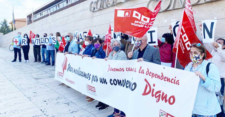 CCOO convoca nueve concentraciones este mes en CLM para reclamar un mejor Convenio Estatal de Dependencia