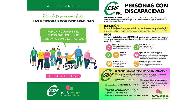 CSIF aboga por el pleno empleo y la inclusión de las personas con discapacidad