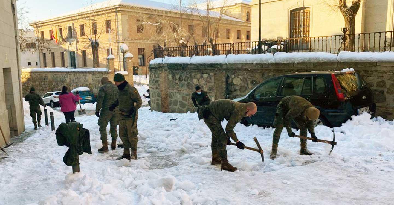 El dispositivo del Ejército para paliar los efectos del temporal se refuerza con nuevos efectivos que actuarán en municipios de Guadalajara y Toledo