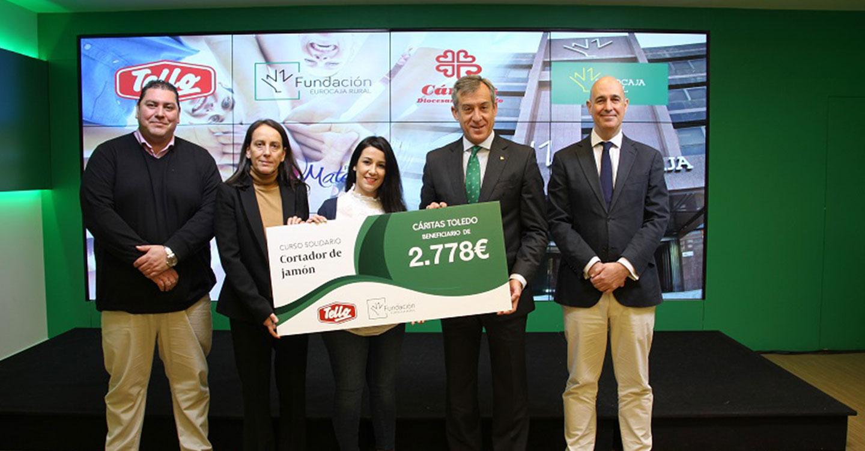 Fundación Eurocaja Rural y Grupo Tello Alimentación entregan a Cáritas Toledo un cheque solidario de 2.778€