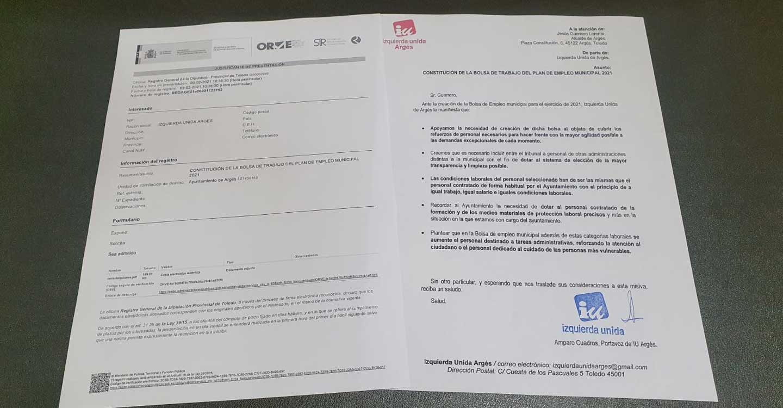 IU Argés reclama que la bolsa de empleo municipal cumpla con unas condiciones laborales dignas