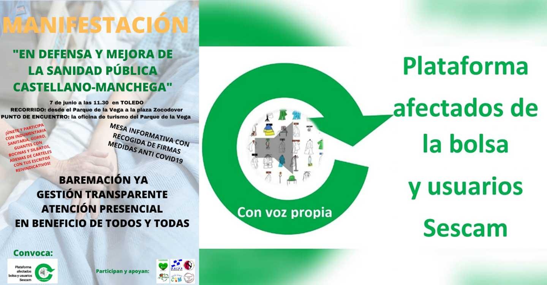 La Plataforma de Afectados por la Bolsa y Usuarios del Sescam convoca una manifestación que tendrá lugar el próximo día 7 de junio en Toledo