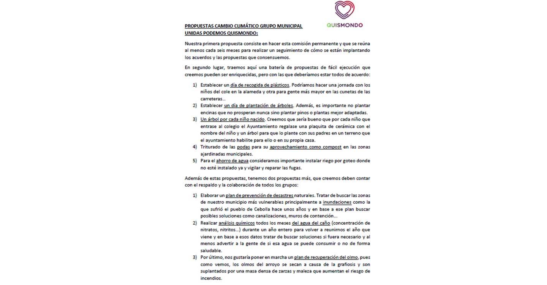 Unidas Podemos-IU Quismondo presenta una batería de propuestas sobre cambio climático para aplicar en el municipio