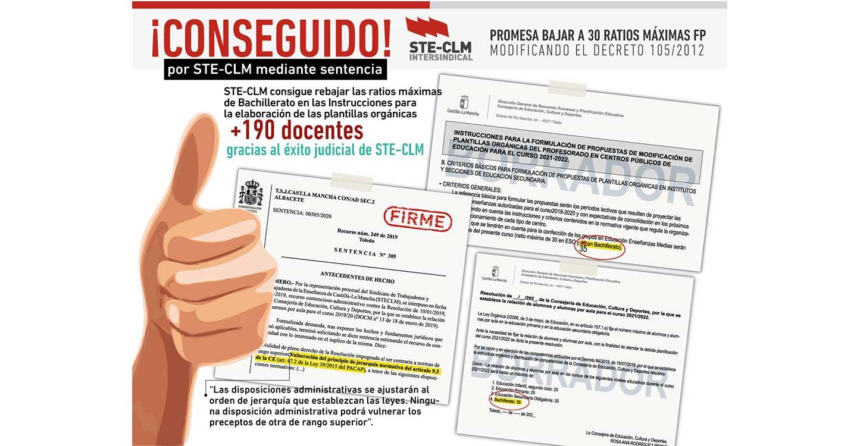 STE-CLM consigue por sentencia judicial bajar las ratios de Bachillerato y aumentar la plantilla del profesorado en 190 puestos para el próximo curso