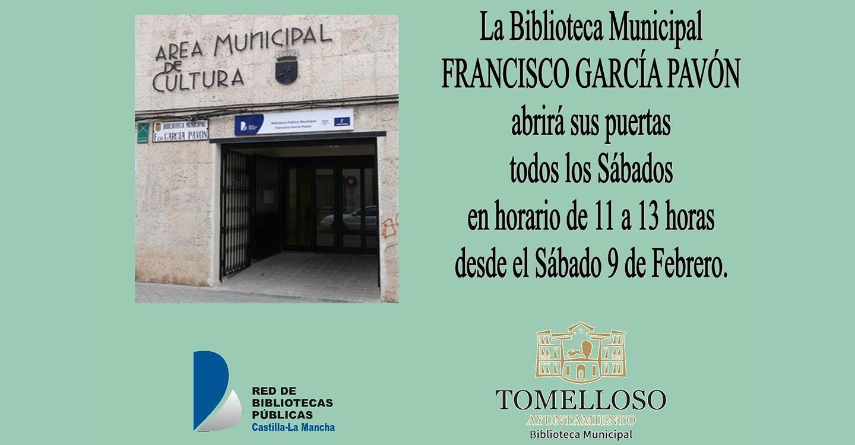 La Biblioteca municipal abrirá sus puertas todos los sábados a partir del día 9