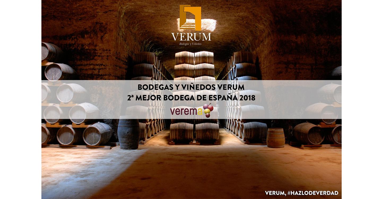 Bodegas Verum segunda mejor bodega de España en los premios Verema 2018