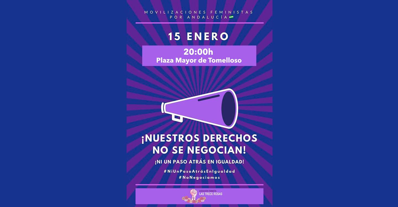"""Concentración en Tomelloso convocada por La Asociación Feminista """"Las Trece Rosas"""" en contra del antifeminismo de Vox y sus propuestas machistas, racistas y xenófobas."""
