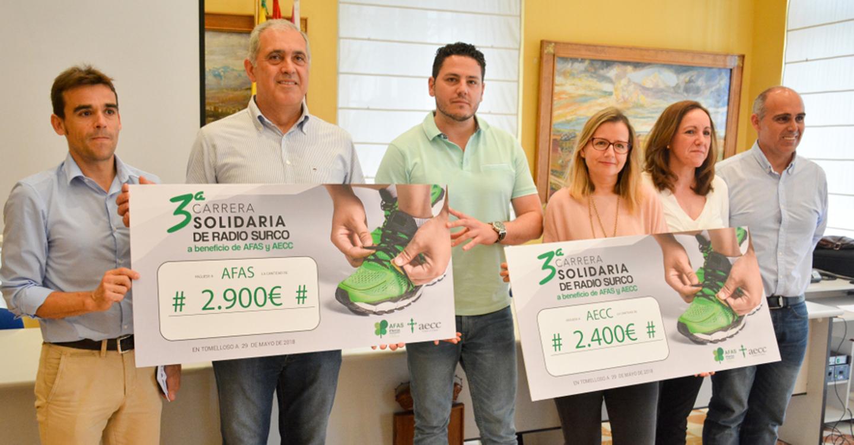 AFAS y AECC reciben 5.300 € de la carrera solidaria de Radio Surco