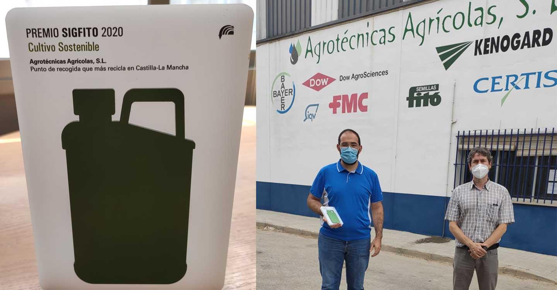 """Agrotécnicas Agrícolas S.L., con sede en Tomelloso, recibe el premio """"Cultivo sostenible"""" de Sigfito al punto que más envases recicla en Castilla-La Mancha durante 2019."""