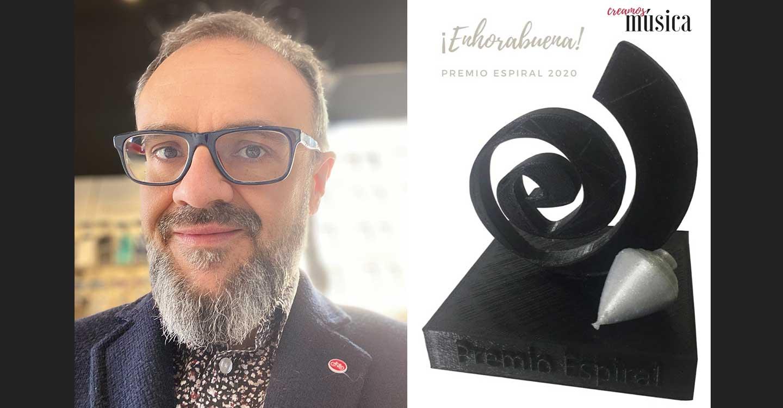 Agustín Pradillos ganador de la Peonza de Plata de los Premios Espiral 2020 con el proyecto 'Creamosmusica'