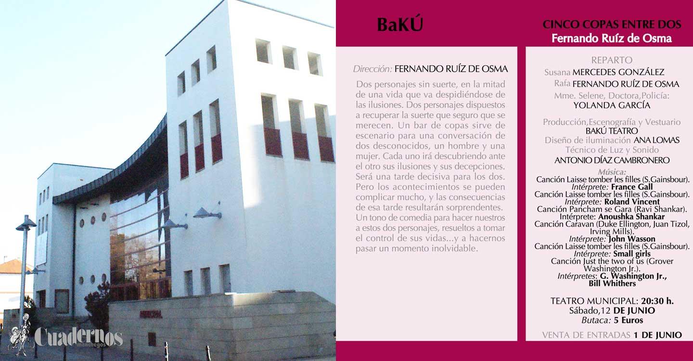 """""""Cinco copas entre dos"""" una obra de Bakú Teatro podrá disfrutarse en Tomelloso"""