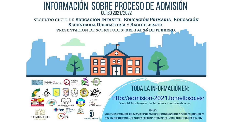 La concejalía de Educación del Ayuntamiento de Tomelloso habilita un espacio web donde informa sobre el proceso de admisión de alumnos para el curso 2021/2022