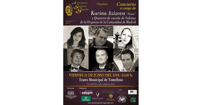Concierto de piano de Karina Azizova junto con el quinteto de Cuerda de Solistas de la Comunidad de Madrid