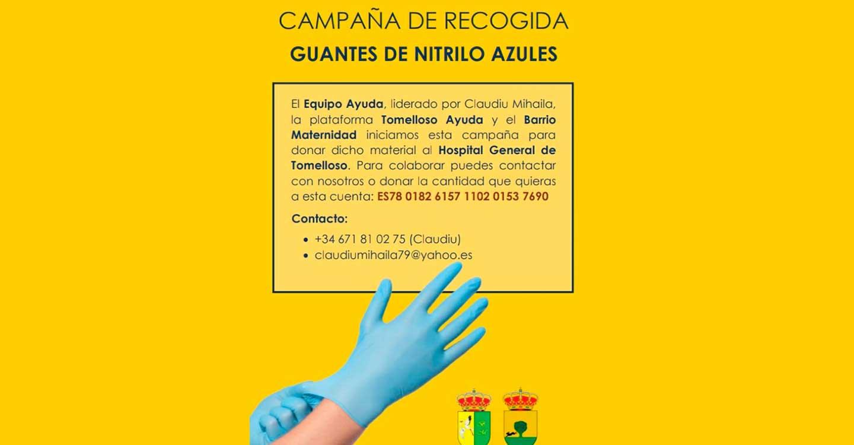 Equipo Ayuda, Tomelloso Ayuda y el Barrio Maternidad lanzan una campaña de recogida de guantes de nitrilo azules para donar al Hospital de Tomelloso