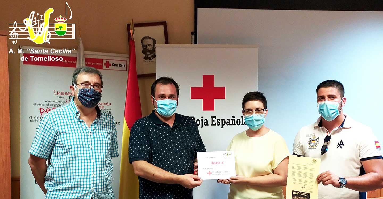 "La Asociación Musical ""Santa Cecilia"" de Tomelloso entrega un donativo de 600€ a la Asamblea Local de Cruz Roja Tomelloso"
