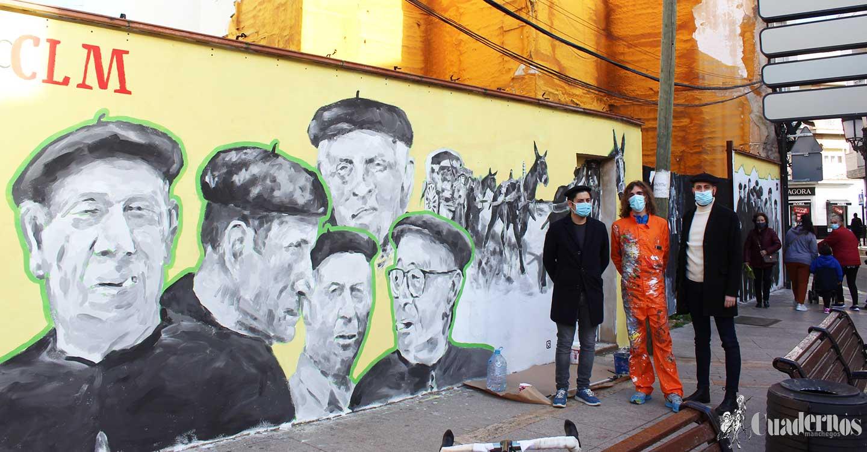 'Gente de boina' un mural en Tomelloso que rinde homenaje a toda la gente mayor en estos tiempos de pandemia