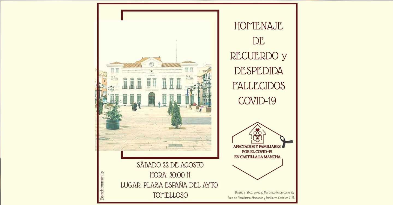 La Plataforma Afectados y Familiares por COVID en Castilla-La Mancha realizará este próximo sábado en Tomelloso un Homenaje de recuerdo y despedida a los fallecidos por COVID-19