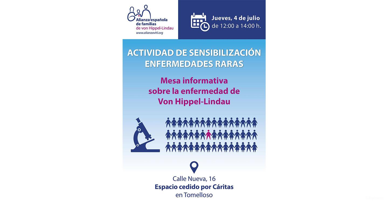 Una mesa informativa sobre la enfermedad de Von Hippel Lindau se celebrará en Tomelloso