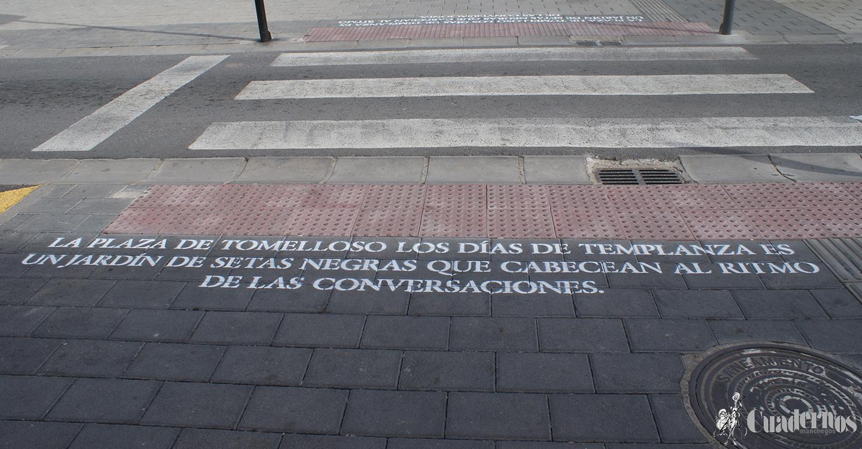 Diversos textos de la obra de Pavón sorprenden en 7 pasos de peatones de la ciudad de Tomelloso