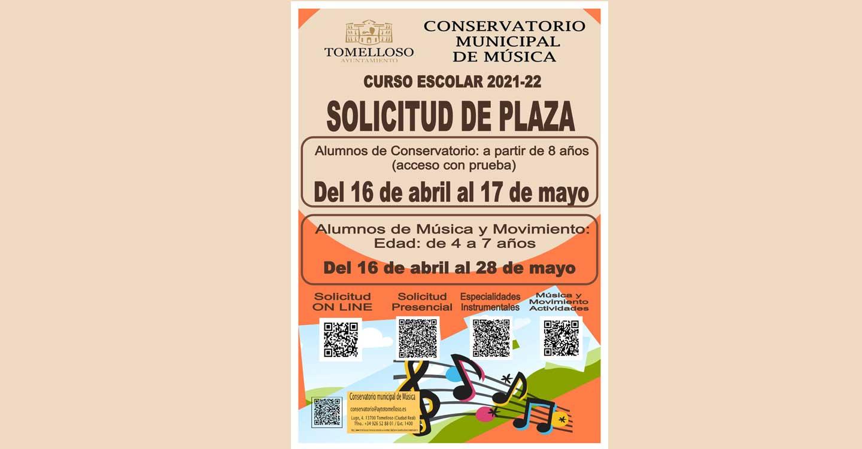 Abiertos los plazos de solicitud y reserva de plaza en el Conservatorio de Música