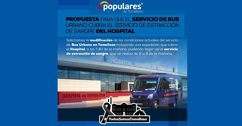 El PP de Tomelloso solicita que el servicio de bus urbano cubra el servicio de extracción de sangre del Hospital
