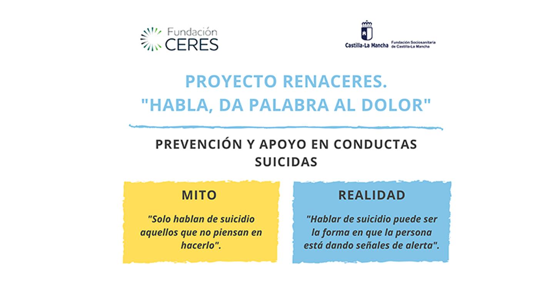 Fundación Ceres de Tomelloso pone en marcha por segundo año consecutivo el programa Renaceres (Prevención y Apoyo en conductas suicidas)