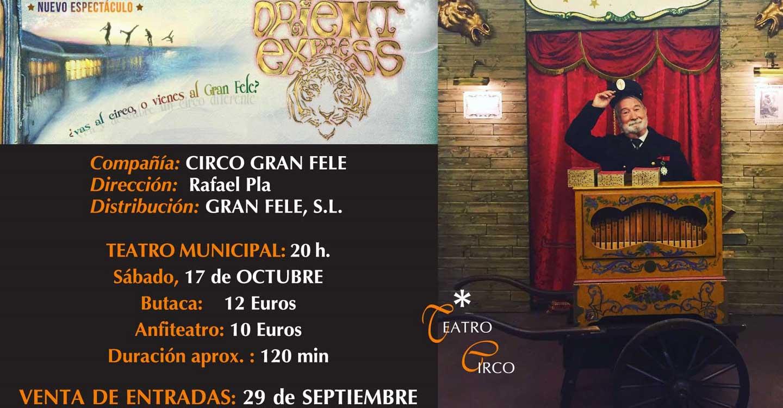 """Hoy martes 29 de septiembre ya está disponible la venta anticipada en Tomelloso de las entradas para el espectáculo """"Orient Express"""""""