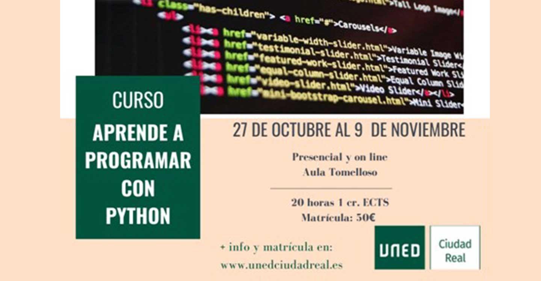 La UNED de Tomelloso impartirá un curso de programación con Python