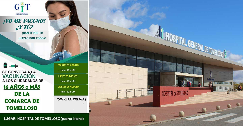 El Hospital de Tomelloso vacunará a mayores de 16 años sin cita previa los días tres, cinco y seis de agosto.