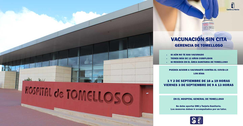 El Hospital de Tomelloso vacuna sin cita previa a personas con más de 12 años el 1,2 y 3 de septiembre