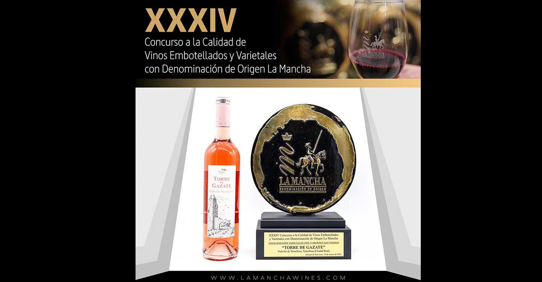 El Torre de Gazate Rosado de la variedad Cabernet Sauvignon añada 2020 de Vinícola de Tomelloso ha sido premiado con un oro en el XXXIV Certamen a la calidad de los vinos de la DO La Mancha
