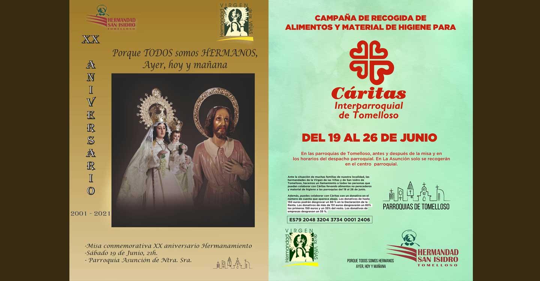 Las hermandades de la Virgen de las Viñas y de San Isidro de Tomelloso programan conjuntamente una recogida de alimentos, material de higiene y la celebración de una eucaristía