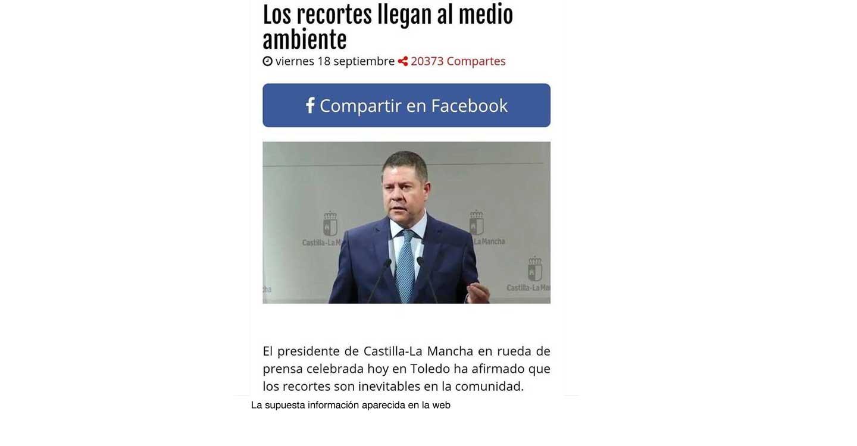 El Gobierno de Castilla-La Mancha pondrá en conocimiento de la Policía las informaciones tan falsas como absurdas sobre el Ejecutivo recogidas en una página web este viernes pasado